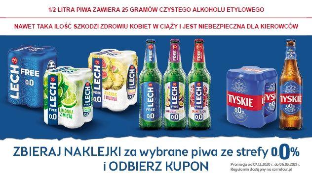 Kupuj piwa Tyskie 0,0% i Lech Free 0,0% i zbieraj naklejki w aplikacji Mój Carrefour