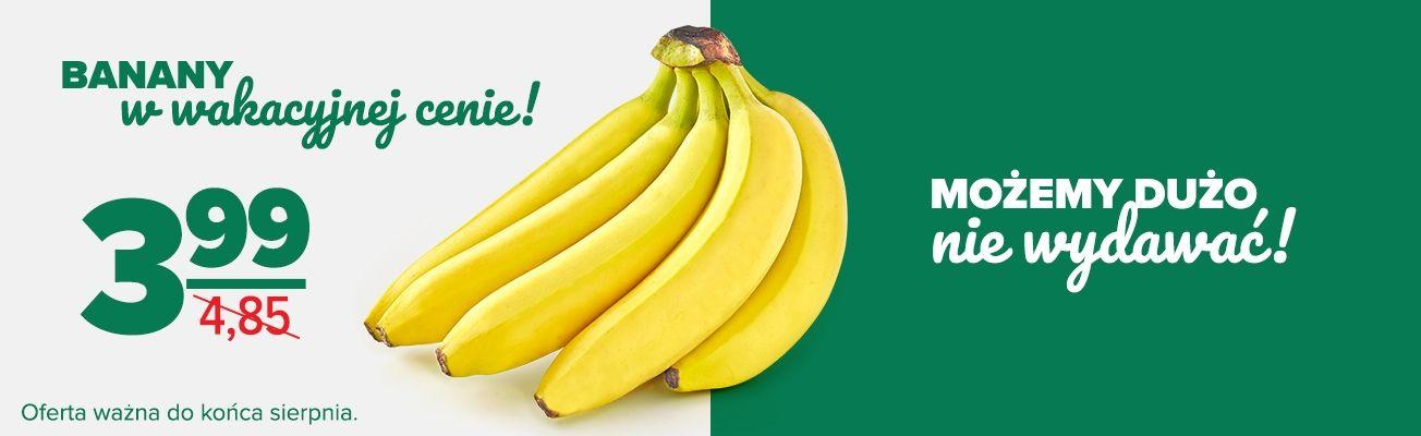 banany w Carrefour w stałej cenie 3,99 zł przez cały sierpień