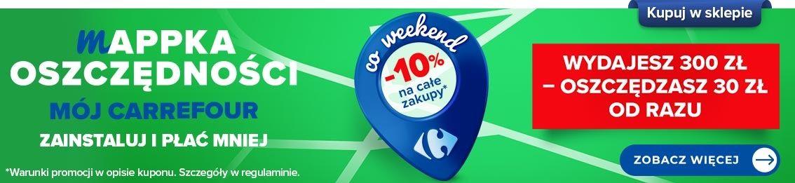 Mappka oszczędności z aplikacją Mój Carrefour 10% rabatu co weeknd na całe zakupy