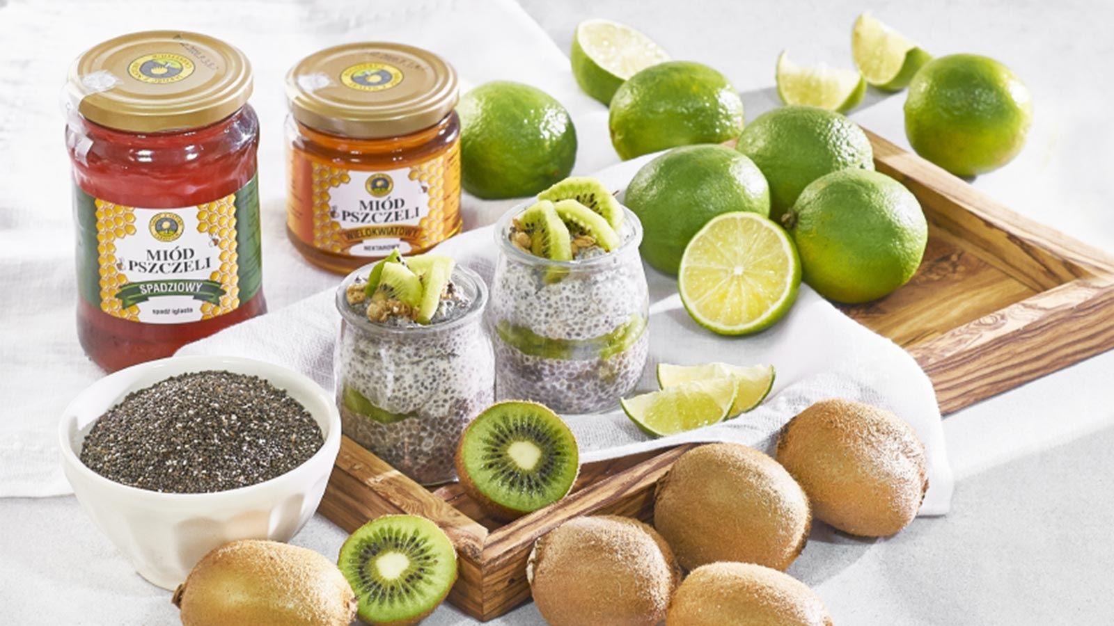 Pudding z nasionami chia i kiwi