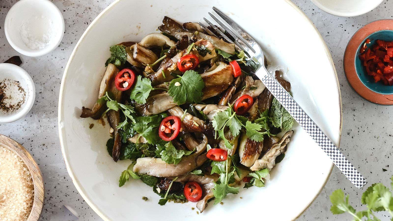 Tajskie boczniaki z grilla