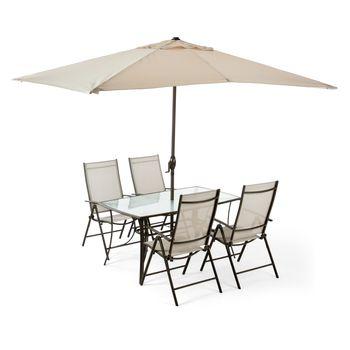 Zestaw Mebli Ogrodowych z Parasolem 4 Fotele i Stół