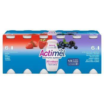 Actimel Mleko fermentowane o smaku jeżynowo-jagodowym i truskawkowym 1,2 kg (12 x 100 g)