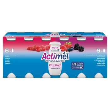 Actimel Mleko fermentowane o smaku malinowym i owoce leśne-truskawka 1,2 kg (12 x 100 g)
