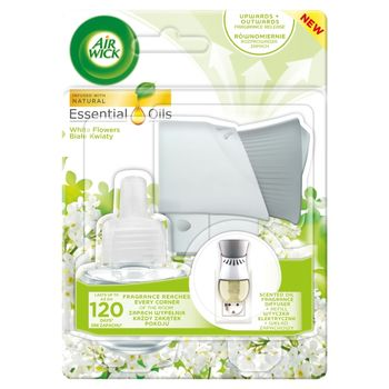 Air Wick Essential Oils Elektryczny odświeżacz powietrza i wkład białe kwiaty 19 ml