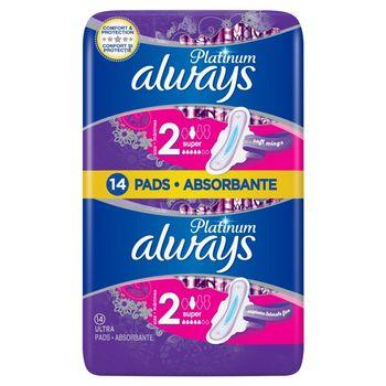 Always Platinum Super (rozmiar 2) Podpaski ze skrzydełkami, 14 sztuk