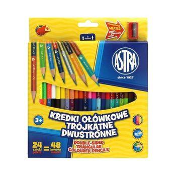 Astra Kredki ołówkowe trójkątne 24/48 Aż 48 kolorów