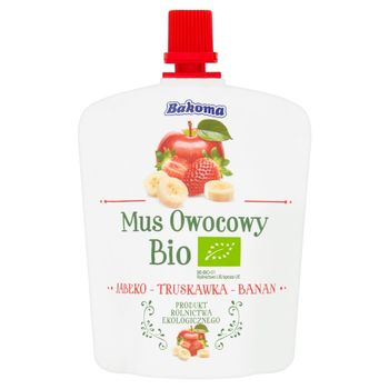 Bakoma Mus owocowy Bio jabłko-truskawka-banan 90 g