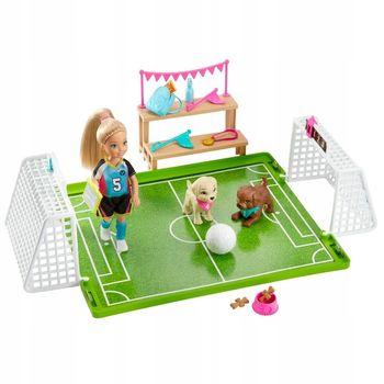 BARBIE Boisko do piłki nożnej zestaw z lalką Chelsea i akcesoriami GHK37