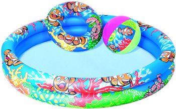 Basen Nadmuchiwany Ogrodowy BESTWAY Play Pool Set Wielokolorowy 122x20 cm