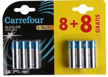 Baterie alkaliczne Carrefour AAA 8+8 szt. GRATIS!