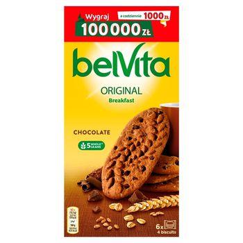 belVita Breakfast Ciastka zbożowe o smaku kakaowym z kawałkami czekolady 300 g (24 sztuki)