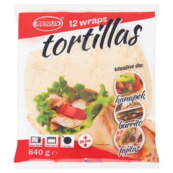 Benus Tortilla placki do napełniania 25 cm 840 g (12 sztuk)