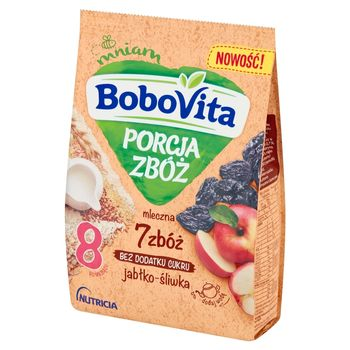 BoboVita Porcja Zbóż Kaszka mleczna 7 zbóż jabłko-śliwka po 8 miesiącu 210 g