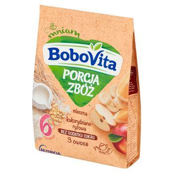 BoboVita Porcja Zbóż Kaszka mleczna kukurydziano-ryżowa 3 owoce po 6 miesiącu 210 g