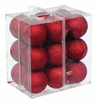 Bombki plastikowe Jumi Czerwone Brokat 18 sztuk