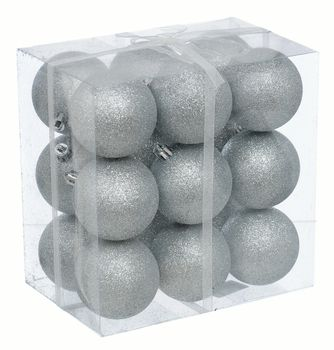 Bombki plastikowe Jumi  Srebrne Brokat 18 sztuk