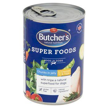 Butcher's Super Foods Karma dla dorosłych psów kawałki w galaretce z kurczakiem i flaczkami 400 g