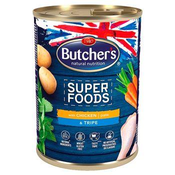 Butcher's Super Foods Karma dla dorosłych psów pasztet z kurczakiem i flaczkami 400 g