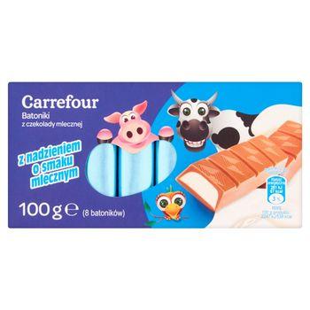 Carrefour Batoniki z czekolady mlecznej z nadzieniem o smaku mlecznym 100 g (8 batoników)