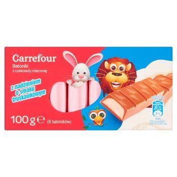 Carrefour Batoniki z czekolady mlecznej z nadzieniem o smaku truskawkowym 100 g (8 batoników)