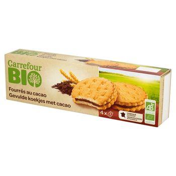 Carrefour Bio Ciastka przekładane nadzieniem kakaowym 185 g