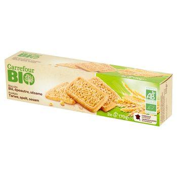 Carrefour Bio Ciastka pszenno-orkiszowe z sezamem 170 g