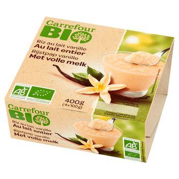 Carrefour Bio Deser mleczno-ryżowy waniliowy 400 g (4 x 100 g)
