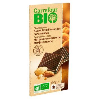 Carrefour Bio Ekologiczna czekolada deserowa z kawałkami karmelizowanych migdałów 100 g