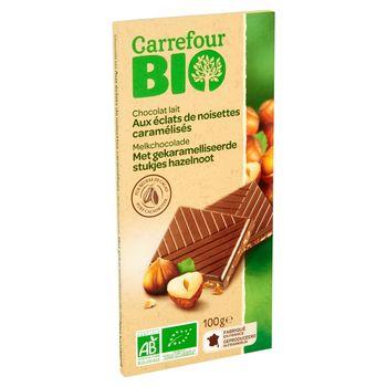 Carrefour Bio Ekologiczna czekolada mleczna z kawałkami karmelizowanych orzechów laskowych 100 g