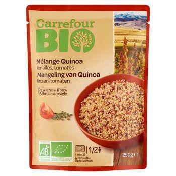 Carrefour Bio Ekologiczna mieszanka komosy ryżowej zielonej soczewicy i pomidorów 250 g
