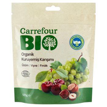 Carrefour Bio Ekologiczna mieszanka rodzynek orzechów laskowych i wiśni 125 g