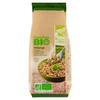 Carrefour Bio Ekologiczna mieszanka zbóż soczewicy czerwonej pestek dyni 400 g