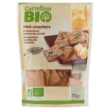 Carrefour Bio Ekologiczne krakersy solone z serem pestkami dyni i nasionami lnu 110 g