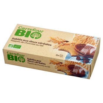 Carrefour Bio Ekologiczne kruche ciastka z czekoladą mleczną 160 g