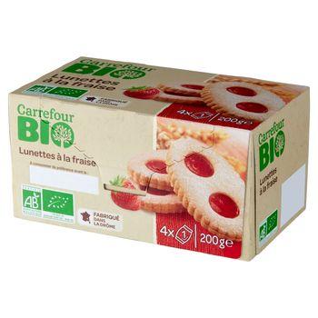 Carrefour Bio Ekologiczne kruche ciastka z nadzieniem truskawkowym 200 g