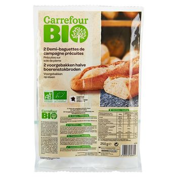 Carrefour Bio Ekologiczne pół-bagietki podpieczone w piecu kamiennym 250 g (2 x 125 g)