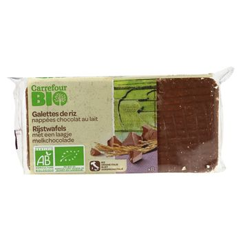 Carrefour Bio Ekologiczne wafle ryżowe w czekoladzie mlecznej 90 g