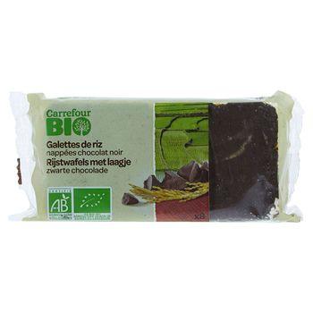 Carrefour Bio Ekologiczne wafle z ryżu brązowego oblane gorzką czekoladą 100 g