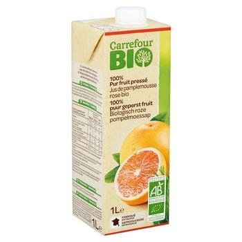 Carrefour Bio Ekologiczny sok z różowych grejpfrutów 1 l