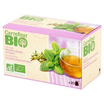 Carrefour Bio Herbata ziołowa z miętą i tymiankiem 30 g (20 torebek)