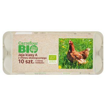 Carrefour Bio Jaja z chowu ekologicznego o różnej wielkości 10 sztuk
