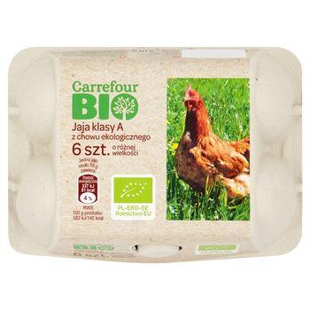 Carrefour Bio Jaja z chowu ekologicznego o różnej wielkości 6 sztuk