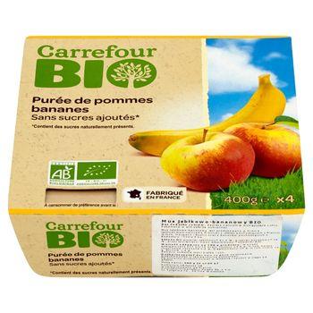 Carrefour Bio Mus jabłkowo-bananowy 400 g (4 sztuki)