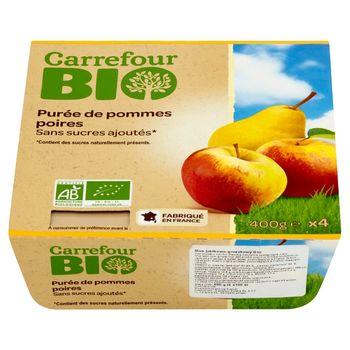 Carrefour Bio Mus jabłkowo-gruszkowy 400 g (4 sztuki)