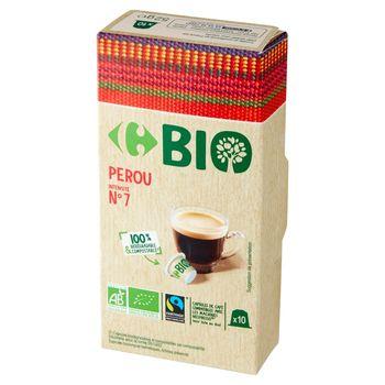 Carrefour Bio Peru Kapsułki ekologicznej kawy palonej mielonej 52 g (10 sztuk)