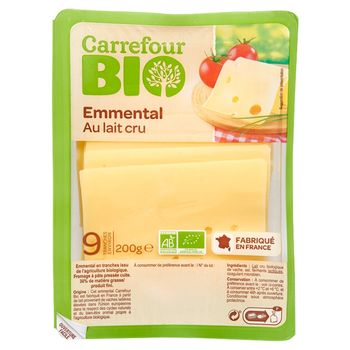 Carrefour Bio Ser Emmental w plastrach 200 g (9 sztuk)