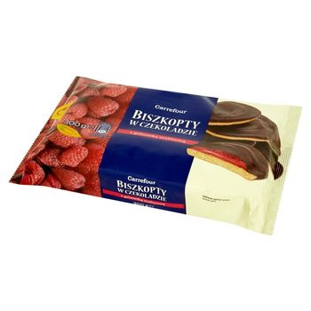 Carrefour Biszkopty w czekoladzie z galaretką malinową 300 g