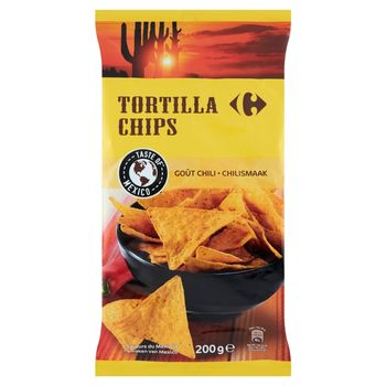 Carrefour Tortilla Chipsy o smaku chilli 200 g