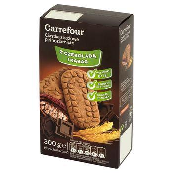 Carrefour Ciastka zbożowe pełnoziarniste z czekoladą i kakao 300 g (6 x 4 sztuki)